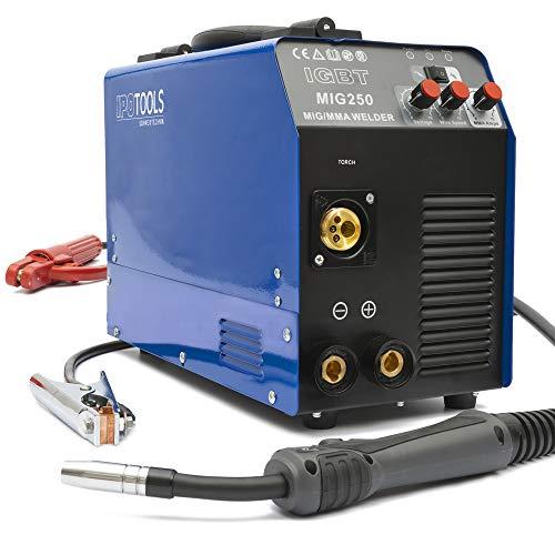 IPOTOOLS MIG-250 Inverter Schweißgerät MIG MAG - Schutzgas Schweissgerät mit 250 Ampere, Fülldraht und Elektroden geeignet mit/MMA E-Hand/IGBT Technologie / 230V / Blau, 7 Jahre Garantie