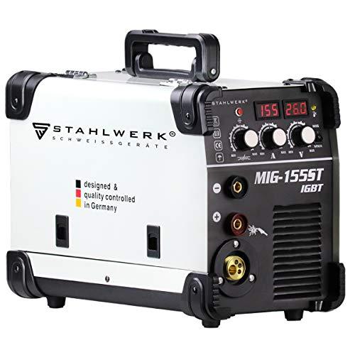 STAHLWERK MIG 155 ST IGBT - MIG MAG Schutzgas Schweißgerät mit 155 Ampere, FLUX Fülldraht geeignet, mit MMA E-Hand, weiß, 7 Jahre Herstellergarantie