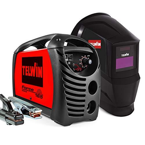 Telwin 815863 Force 165 Inverterschweissgerät für das Elektrodenschweißen Komplett mit Automatischem Schweißhelm und Schweißzubehör, 230 V, 4,23 kg, Rot, Force 165 mit Schweißhelm und Zubehör
