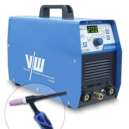 Wig schweißgerät AC DC mit 200a und Elektrodenschweißfunktion 170a | Alu Schweißgerät - Gasvor- & Nachlauf - Stroman- & Abstieg - WIG ACDC 200 von Vector Welding