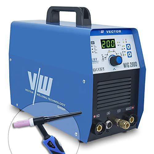 Wig Schweißgerät mit 200 Ampere und Elektrodenschweißfunktion 170 Ampere | Pulsfunktion - Gasvor- & Nachlauf - Stroman- & Abstieg - Jobpeicher - Inverter - IGBT - Wig 200 von Vector Welding