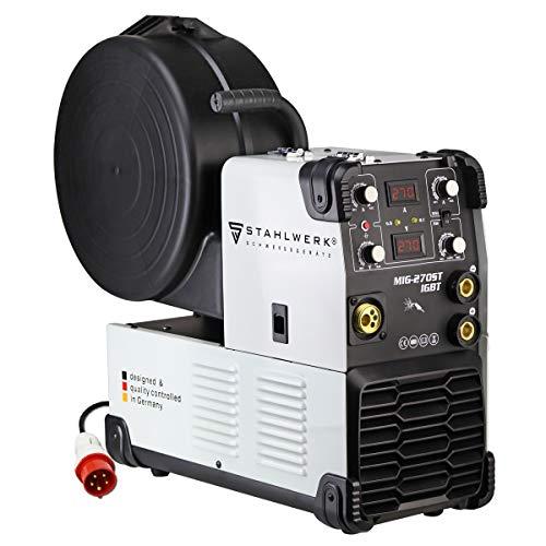 STAHLWERK MIG 270 ST IGBT - MIG MAG Schutzgas Schweißgerät mit 270 Ampere, FLUX Fülldraht geeignet, mit MMA E-Hand, 4 Rollenantrieb, 7 Jahre Herstellergarantie