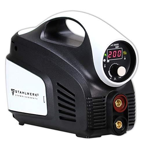 STAHLWERK ARC 200 XD IGBT - Schweißgerät DC MMA/E-Hand mit echten 200 Ampere, Digitalanzeige, kompaktes & leichtes Gehäuse, weiß, 7 Jahre Garantie