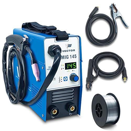 Fülldraht Schweißgerät ohne Gas - Drahtschweißgerät mit 145 Ampere & Elektrodenschweißfunktion mit 140 Ampere | Auto. Drahtvorschub - Inverter - Set mit 1 Kg Drahtrolle - von Vector Welding