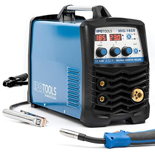 IPOTOOLS MIG-185R Inverter Schweißgerät MIG MAG - Schutzgas Schweissgerät mit 185 Ampere auch FLUX/Fülldraht und Elektroden geeignet mit/E-Hand/Digitalanzeige/IGBT / 230V / 7 Jahre Garantie