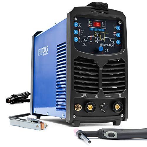 IPOTOOLS INV185PACDC WIG Schweißgerät AC DC Schweissgerät mit 180 Amper Volldigitales Inverterschweißgerät Inkl HF-Zündung, Pulsfunktion, Aluminium Schweißen, MMA, IGBT, 7 Jahre Garantie