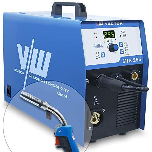 Mig Mag Schweissgerät - Fülldraht Schweißgerät - Schutzgasschweißgerät mit 255 Ampere & Elektrodenschweißfunktion mit 170 Ampere | Auto. Drahtvorschub - 230v - Inverter - von Vector Welding