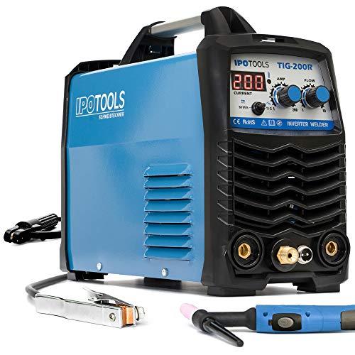 IPOTOOLS TIG-200R WIG Schweißgerät DC - TIG WIG Schweissgerät 200 Amper Volldigitales Inverter Schweißgerät mit Digitale LCD Anzeige, HF-Zündung, MMA E-Hand, IGBT, 7 Jahre Garantie