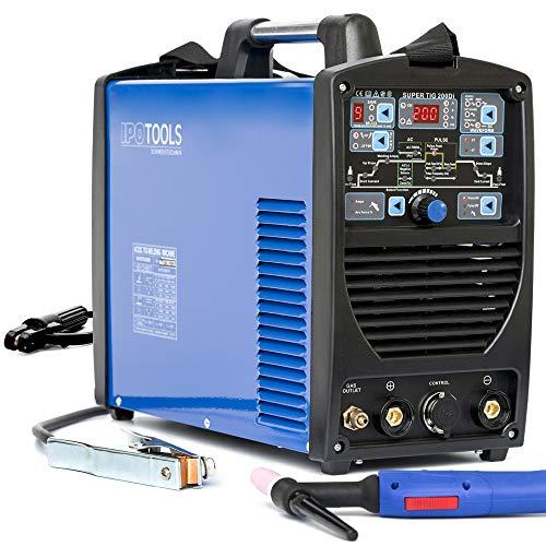 IPOTOOLS SUPERTIG 200DI WIG Schweißgerät AC DC Schweissgerät mit 200 Amper Volldigitales Inverterschweißgerät Inkl HF-Zündung, Pulsfunktion, MMA, IGBT, 7 Jahre Garantie