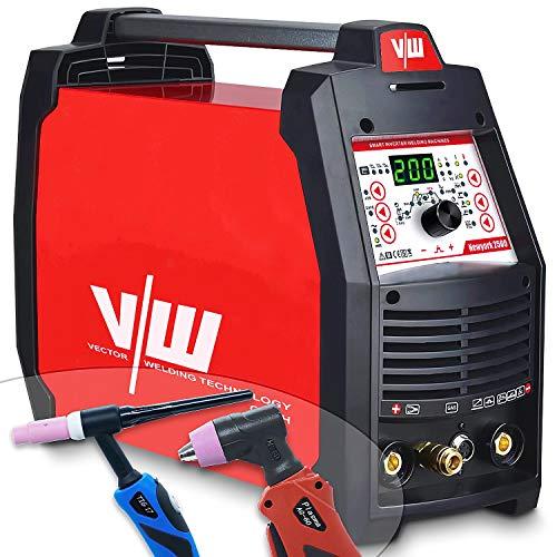 Wig schweißgerät AC DC mit 200a & Elektrodenschweißfunktion 170a & Plasmaschneider 50a | Aluminium Schweißgerät - Pulsfunktion - Gasvor- & Nachlauf - Stroman- & Abstieg von Vector Welding