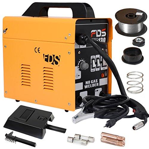 COSTWAY Ampere Schweißgerät Schweißmaschine FLUX Schutzgas MIG 130 Elektrodenschweißgerät Fülldraht (Gelb)
