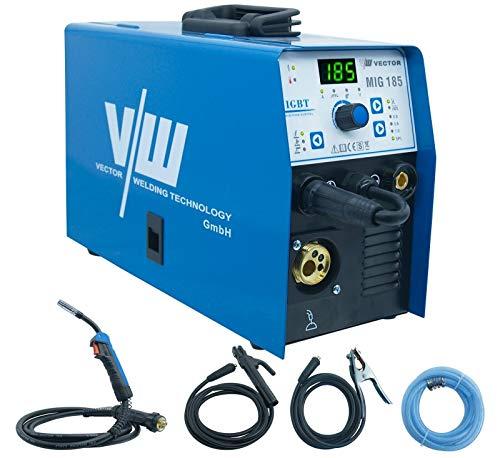 Mig Mag Schweissgerät - Fülldraht Schweißgerät - Schutzgasschweißgerät mit 185 Ampere & Elektrodenschweißfunktion mit 160 Ampere | Auto. Drahtvorschub - 2&4 Takt - Inverter von Vector Welding