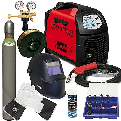 TELWIN MIG/MAG Schweißgerät TECHNOMIG 210 DUAL Synergic im SET 2, inkl. SCAPP Schweißdraht, SCAPP Schweißerhandschuhe, Verschleißteileset, Gasflasche, Jackson Schweißhelm, usw. (816052)